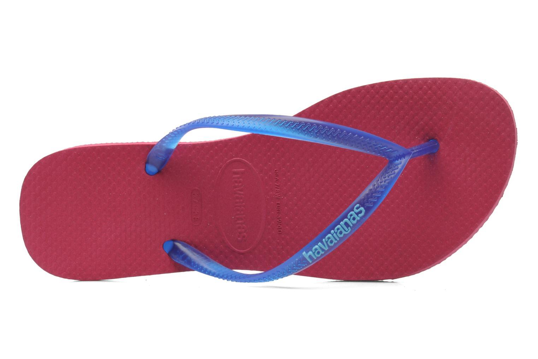 Tongs Havaianas Slim logo femme Bleu vue gauche
