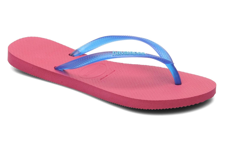 Tongs Havaianas Slim logo femme Bleu vue détail/paire