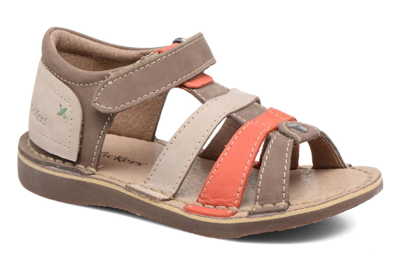 Sandaler Kickers Woopy Brun detaljeret billede af skoene