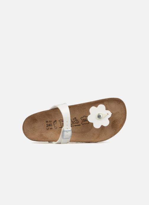 Tongs Birki's Fleur flor w Blanc vue gauche