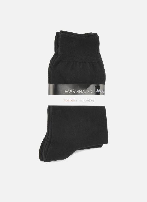 Chaussettes et collants Sarenza Wear Chaussettes Homme pack de 3 Fil d'ecosse unies Noir vue derrière