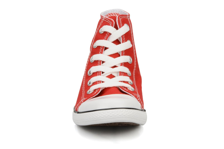 Baskets Converse Chuck taylor all star slim canvas hi k Rouge vue portées chaussures