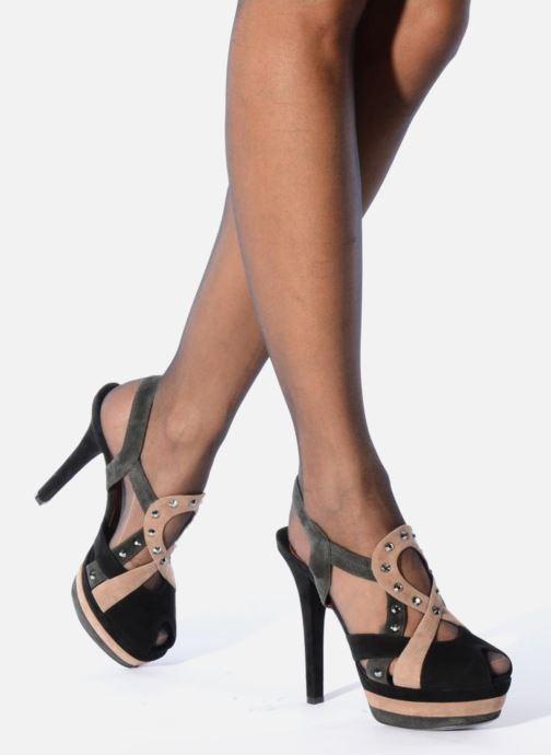 Sandals Ernesto Esposito Estevana Black view from underneath / model view