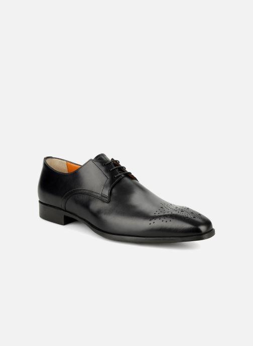 Lace-up shoes Santoni Marlone 11020 Black detailed view/ Pair view