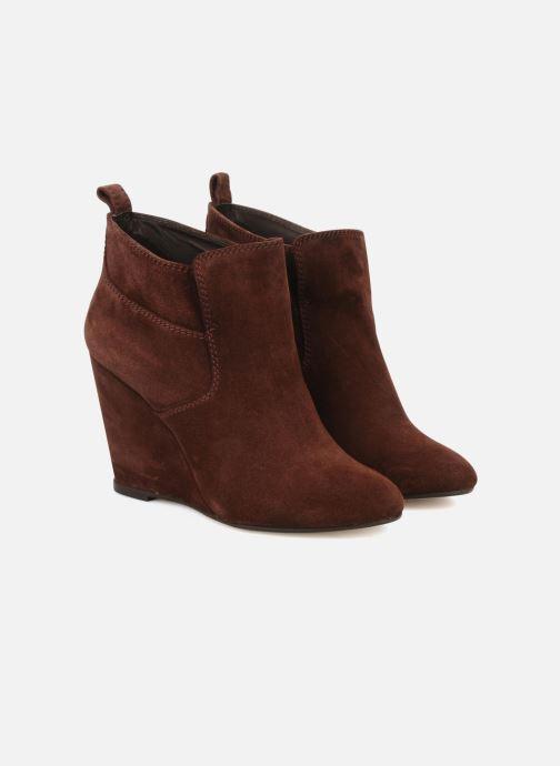 Bottines et boots Tila March Wedge booty stitch suede Bordeaux vue 3/4