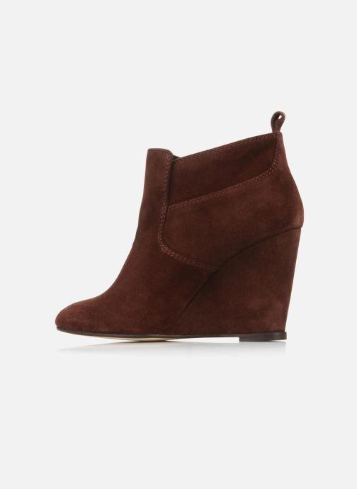 Bottines et boots Tila March Wedge booty stitch suede Bordeaux vue face