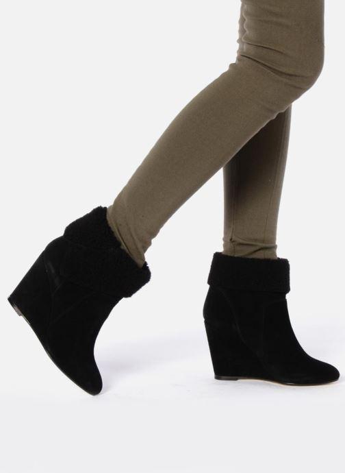 Bottines et boots Tila March Wedge booty origami sherling Noir vue bas / vue portée sac