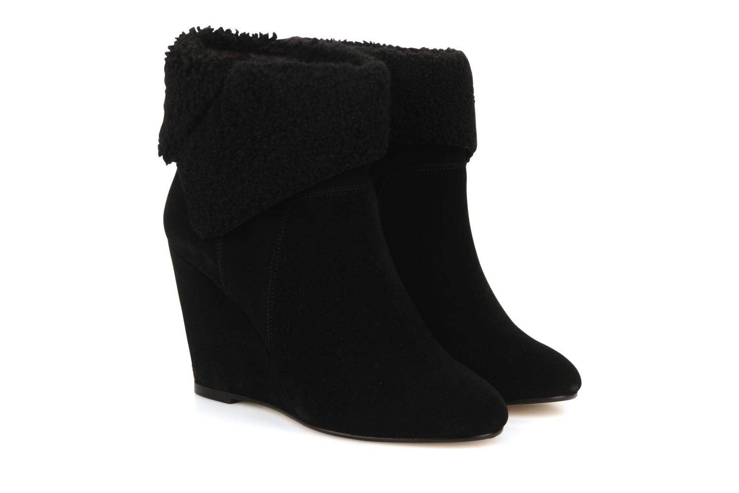 Ankle boots Tila March Wedge booty origami sherling Black 3/4 view