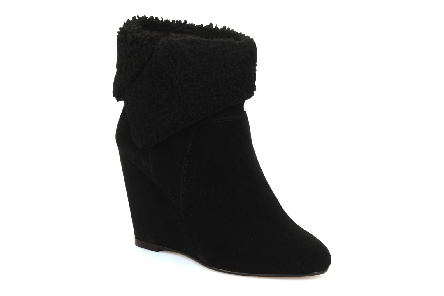 Bottines et boots Tila March Wedge booty origami sherling Noir vue détail/paire