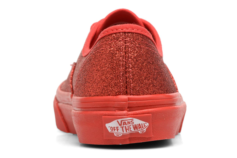 Baskets Vans Authentic E Rouge vue droite