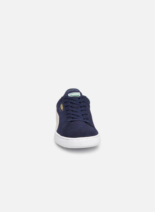 Baskets Puma Suede Classic + Bleu vue portées chaussures