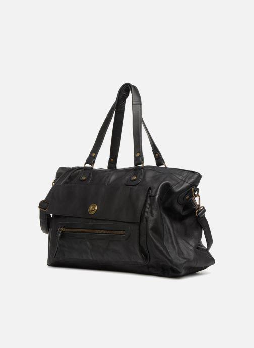 Handtassen Pieces Totally Royal leather Travel bag Zwart model