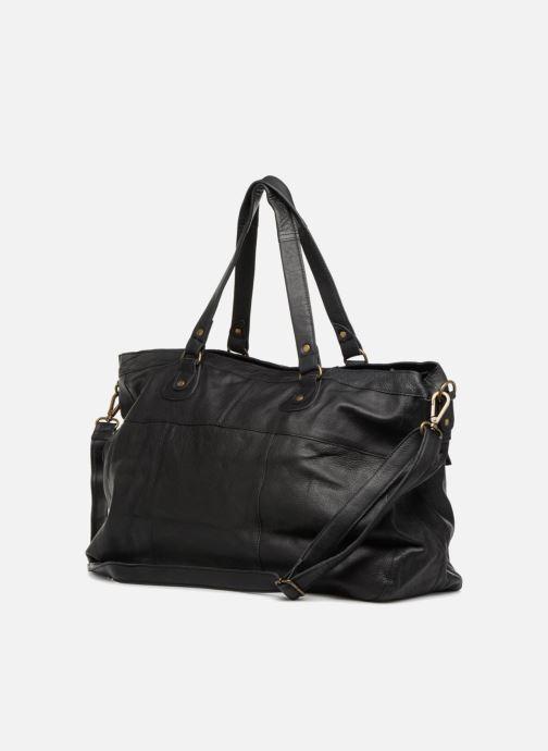 Handtassen Pieces Totally Royal leather Travel bag Zwart rechts