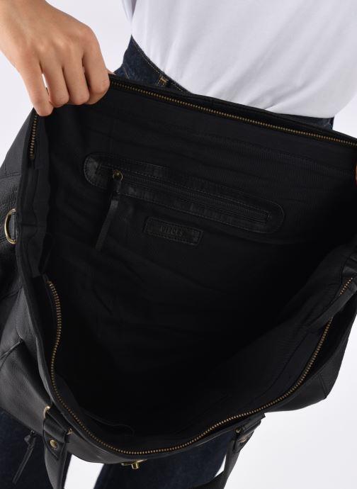 Handtassen Pieces Totally Royal leather Travel bag Zwart achterkant