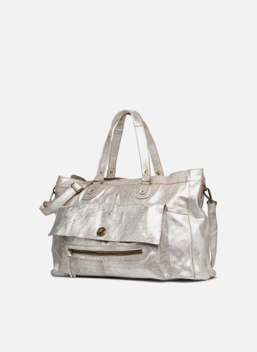 Håndtasker Pieces Totally Royal leather Travel bag Sølv se skoene på