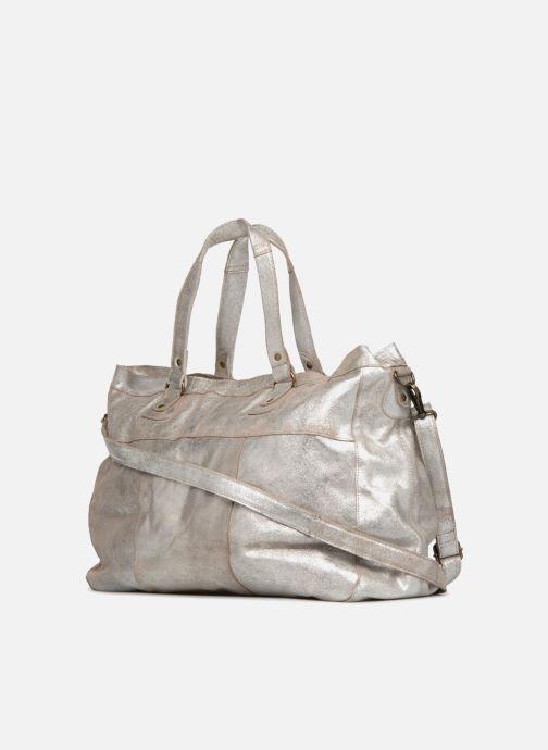 Håndtasker Pieces Totally Royal leather Travel bag Sølv Se fra højre