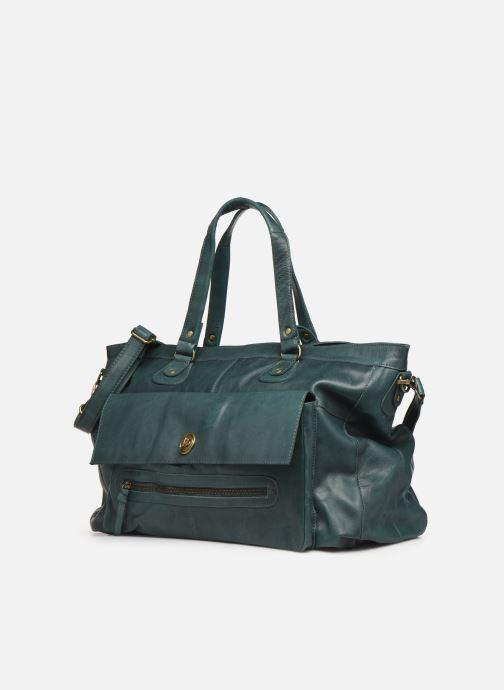 Sacs à main Pieces Totally Royal leather Travel bag Vert vue portées chaussures