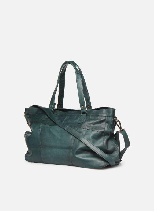 Handtassen Pieces Totally Royal leather Travel bag Groen rechts