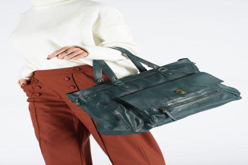 Handtassen Pieces Totally Royal leather Travel bag Groen onder