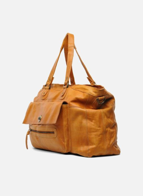 Handtassen Pieces Totally Royal leather Travel bag Bruin model