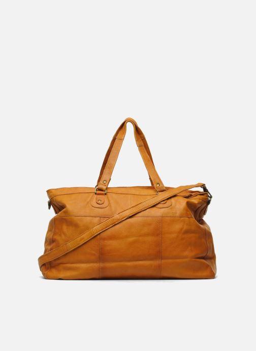 Handtassen Pieces Totally Royal leather Travel bag Bruin voorkant