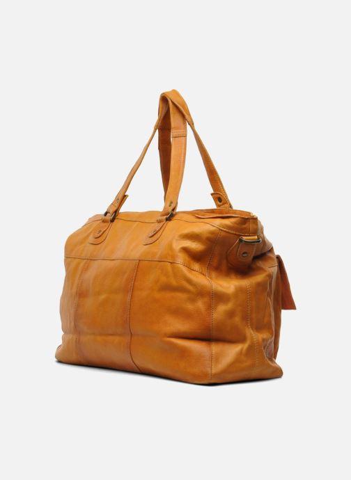 Handtaschen Pieces Totally Royal leather Travel bag braun ansicht von rechts