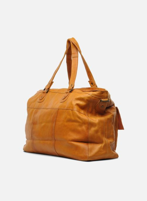 Handbags Pieces Totally Royal leather Travel bag Brown view from the right