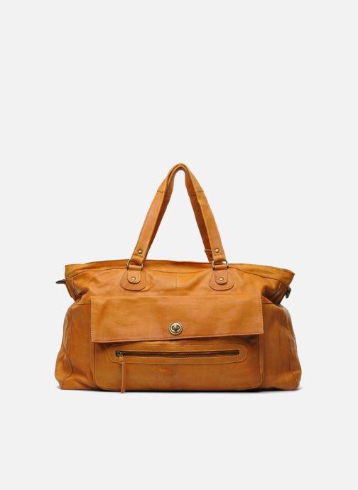 Handtassen Pieces Totally Royal leather Travel bag Bruin detail