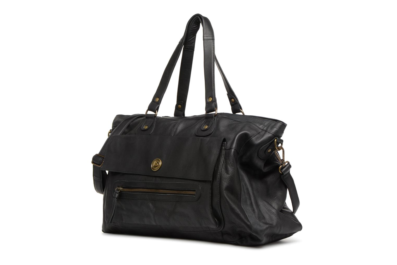 Sacs à main Pieces Totally Royal leather Travel bag Noir vue portées chaussures