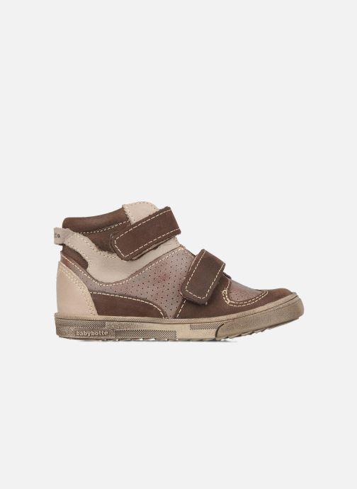Zapatos con velcro Babybotte Ari Marrón vistra trasera