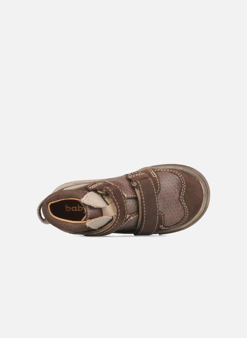 Zapatos con velcro Babybotte Ari Marrón vista lateral izquierda