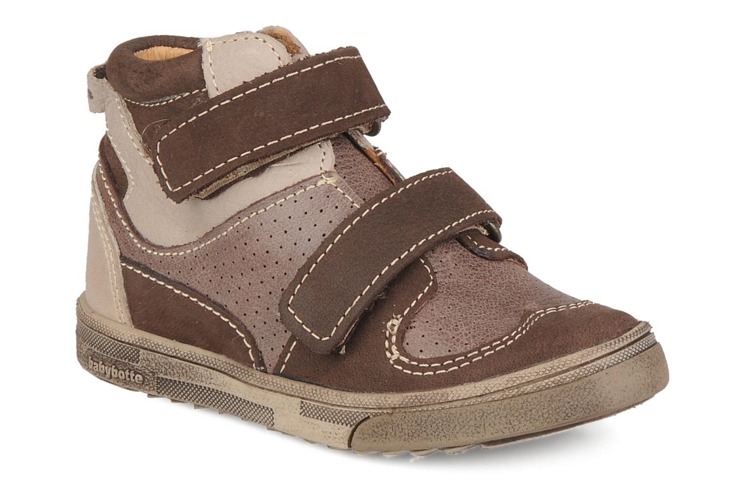 Velcro shoes Babybotte Ari Brown detailed view/ Pair view