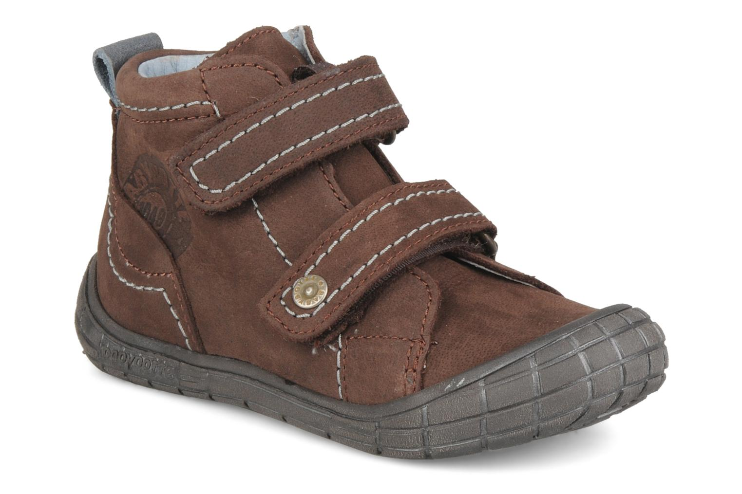 Velcro shoes Babybotte Axyon Brown detailed view/ Pair view