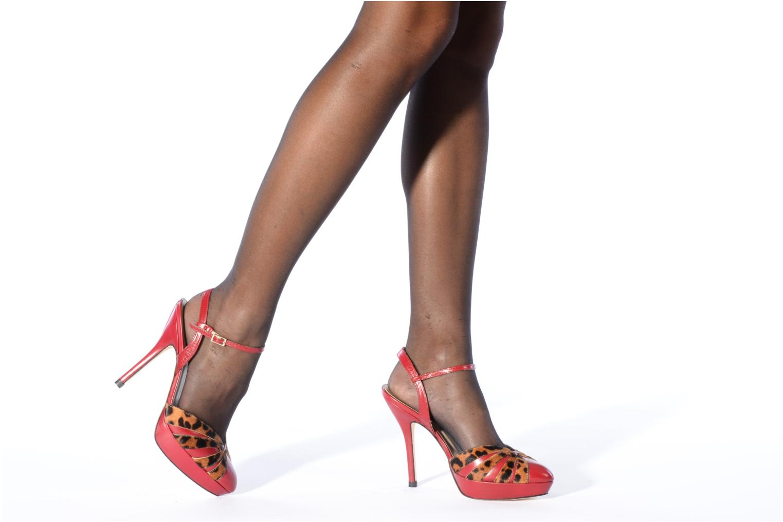 High heels L.K. Bennett Bank Burgundy view from underneath / model view