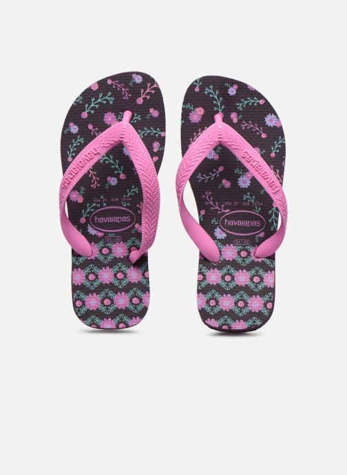 Tongs Havaianas Kids flores Violet vue portées chaussures