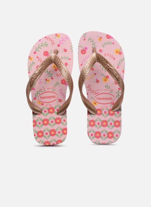 Tongs Havaianas Kids flores Rose vue portées chaussures