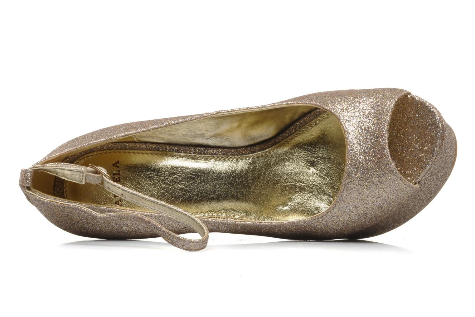High heels Carvela Grass Bronze and Gold view from the left