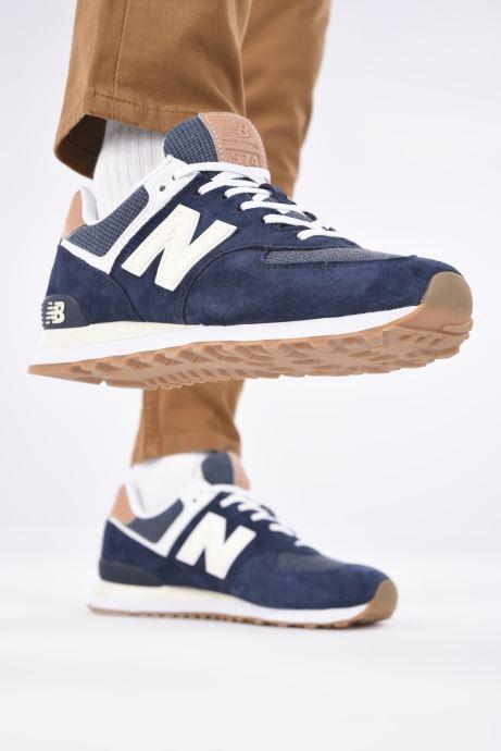 Baskets New Balance Ml574 Bleu vue bas / vue portée sac
