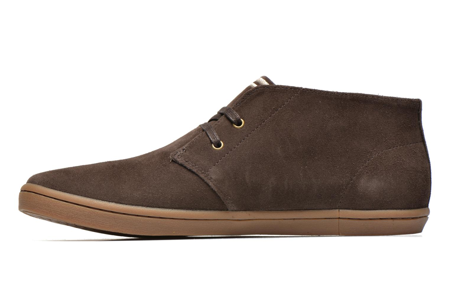 Sneakers Fred Perry Byron Mid Suede Bruin voorkant