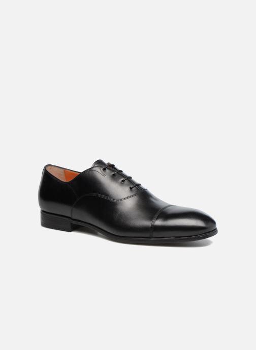 Lace-up shoes Santoni Simon 11011 Black detailed view/ Pair view