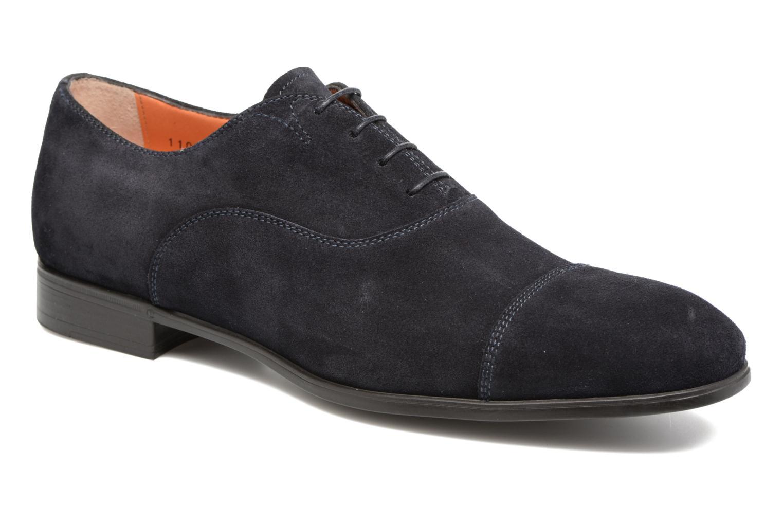 Lace-up shoes Santoni Simon 11011 Blue detailed view/ Pair view