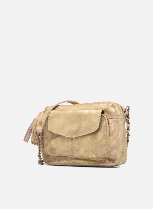 Handtaschen Pieces Naina Leather Crossover gold/bronze schuhe getragen