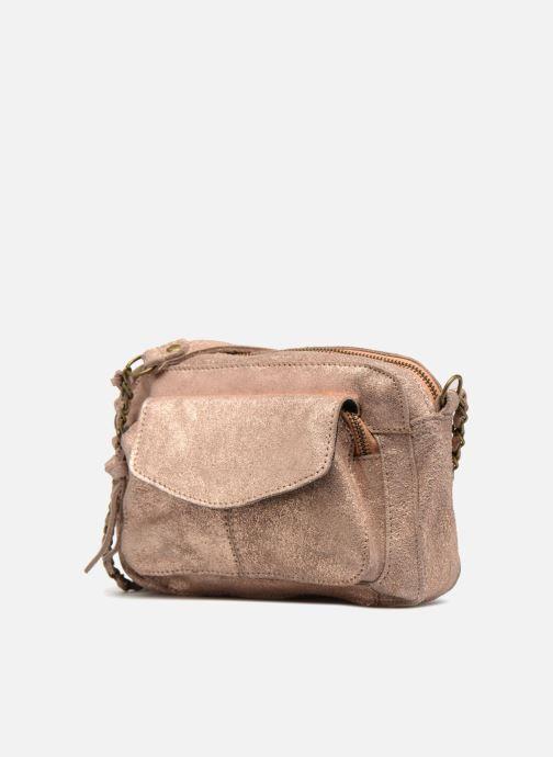 Borse Pieces Naina Leather Crossover Rosa modello indossato