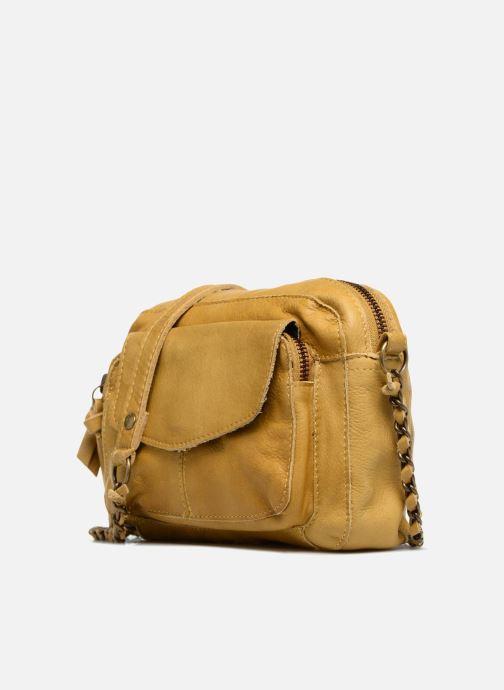 Handtaschen Pieces Naina Leather Crossover gelb schuhe getragen
