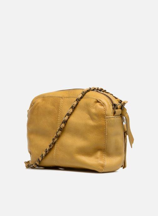 Handtaschen Pieces Naina Leather Crossover gelb ansicht von rechts