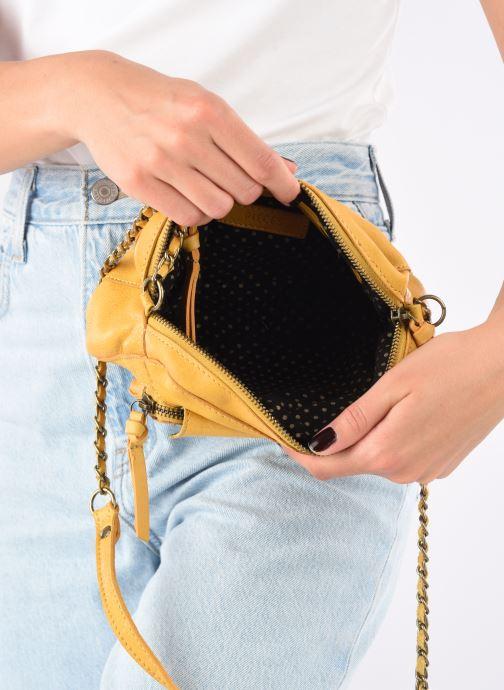 Handtaschen Pieces Naina Leather Crossover gelb ansicht von hinten