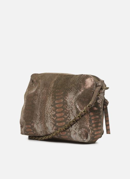 Handbags Pieces Naina Leather Crossover Bronze and Gold view from the right