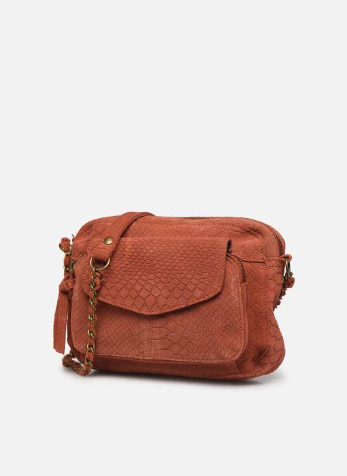 Handtassen Pieces Naina Leather Crossover Oranje model