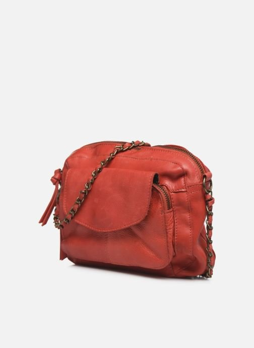 Handbags Pieces Naina Leather Crossover Red model view