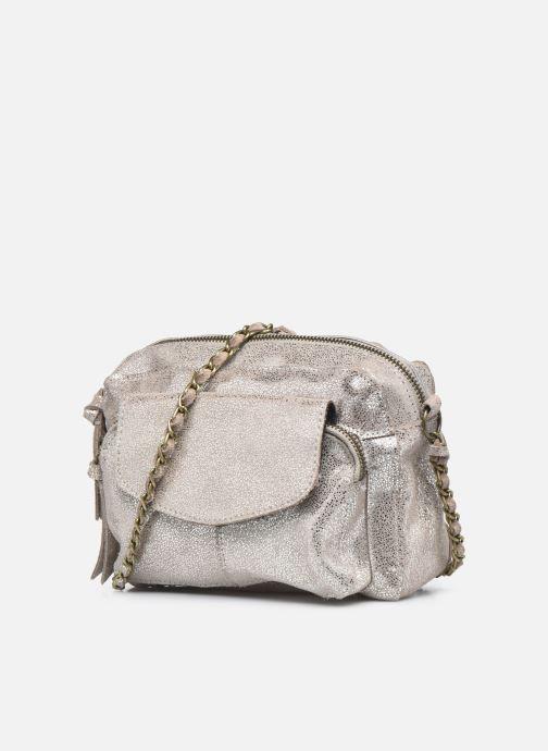 Handtaschen Pieces Naina Leather Crossover silber schuhe getragen